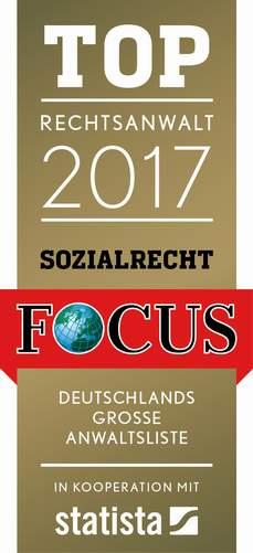 FOCUS Top Anwälte des Jahres 2017, Rechtsanwältin Cornelia Oster, Fachanwältin für Arbeitsrecht, Fachanwältin für Sozialrecht